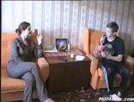 Russian MILF seduces young boy