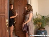Lesbian glamour MILF eats babes pussy